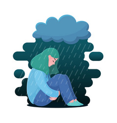 Depressed girl woman sitting under rain cloud vector