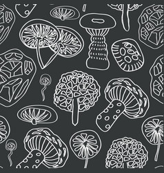 Different mushrooms white silhouette on vector