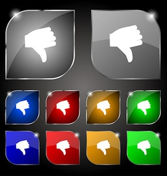 Dislike Thumb down icon sign Set of ten colorful vector image