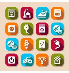 Electronic devices long shadows icons vector