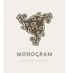 Elegant floral monogram logo design template vector image