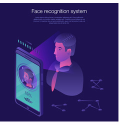 Face recognition system concept banner isometric vector