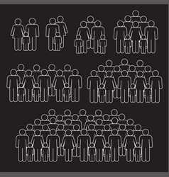 families crowd thin line on black background vector image