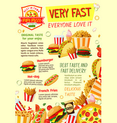 fast food restaurant and pizzeria poster template vector image