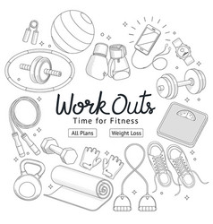 Fitness workouts hand drawn style vector