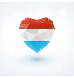 Flag of Luxembourg in shape diamond glass heart vector image