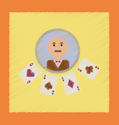 Flat shading style icon poker dealer casino vector