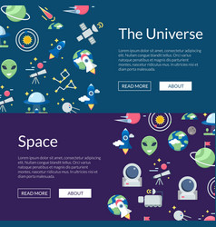 flat space icons web banner templates vector image