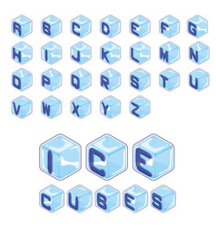 Font ice cubes style on white background vector