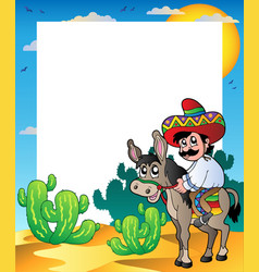 frame with mexican riding donkey vector image