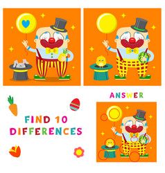 funny clown of find ten differences vector image