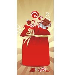 gift sack with candy vector image