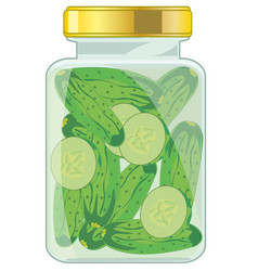Glass bank with salty cucumber on white background vector