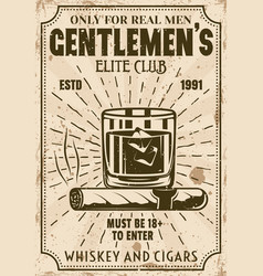 glass of whiskey with ice cubes and cigar poster vector image
