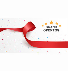Grand opening background with red ribbon vector
