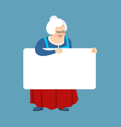 grandmother holding banner blank grandma and vector image