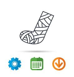 Gypsum or cast foot icon broken leg sign vector