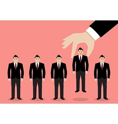 Hand choosing worker from group of businessmen vector image