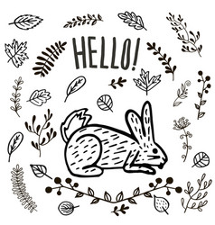 Hand drawn cute hare or rabbit vector