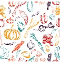 Hand drawn vegetables seamless pattern on a vector image vector image