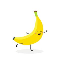 happy cartoon banana rollerblading vector image