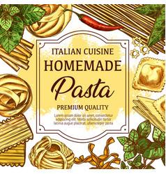 Homemade italian pasta food sketch vector