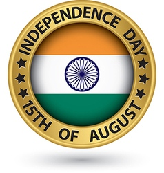 Indian Independence Day 15th of August gold label vector