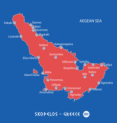 island of skopelos in greece red map vector image vector image