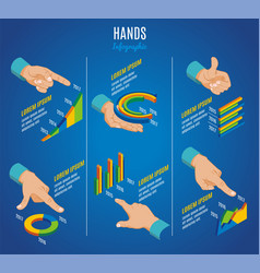 isometric hands infographic concept vector image