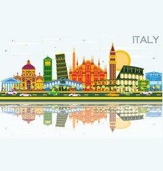Italy city skyline with color landmarks and vector
