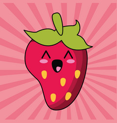 Kawaii strawberry fruit image vector