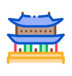 korean building icon outline vector image