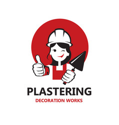 lady plasterer icon vector image