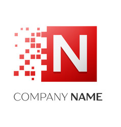 Letter n logo symbol in the colorful square with vector