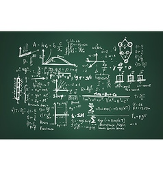 Mathematical formulas on a green school board vector