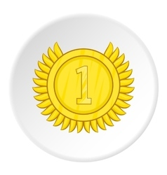 Medal for first place icon cartoon style vector