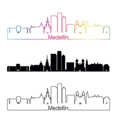 medellin skyline linear style with rainbow vector image