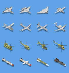 military air forces isometric set vector image