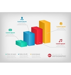 Modern 3d infographics bar chart with vector image
