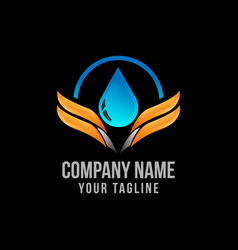 Modern abstract wing and drop water logo water vector