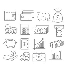 money line icons vector image