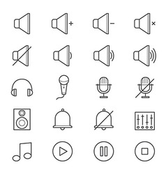 Music and Media Icons Line vector image