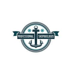 nautical anchor and helm heraldic symbol vector image