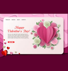 Paper cut valentines day landing page vector