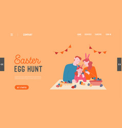 parents and child spare time website landing page vector image