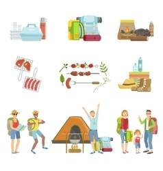 People camping and their equipment set vector