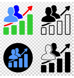 people trend chart eps icon with contour vector image