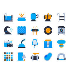 pool equipment simple flat color icons set vector image