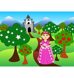 Princess and castle landscape vector