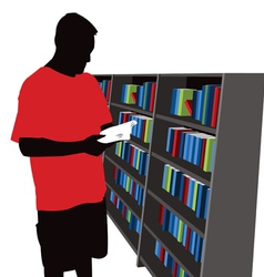 reader silhouette and bookshelf cartoon vector image